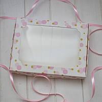 Коробка для пряников 20х15х3см. (с окошком розовая)