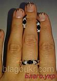 Комплект ЗАР-10 из серебра с золотыми накладками - Серьги и кольцо, фото 2