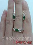 Комплект ЗАР-10 из серебра с золотыми накладками - Серьги и кольцо, фото 4