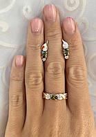 Комплект ЗАР-10 из серебра с золотыми накладками - Серьги и кольцо, фото 1