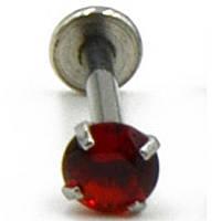 Микроштанга 6 мм, для пирсинга козелка уха, с красным кристаллом 3мм. Медицинская сталь., фото 1