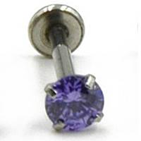 Микроштанга 6 мм, для пирсинга козелка уха, с сиреневым кристаллом 4 мм. Медицинская сталь., фото 1