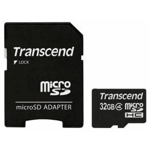 Transcend MicroSDHC 32GB Class 4 + SD-adapter