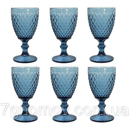 Набор 6 бокалов из синего цветного стекла Эмили 300 мл , фото 2