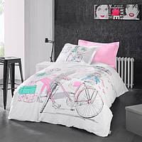 """Комплект постельного белья полуторный  высокого качества """" Велосипед  """""""