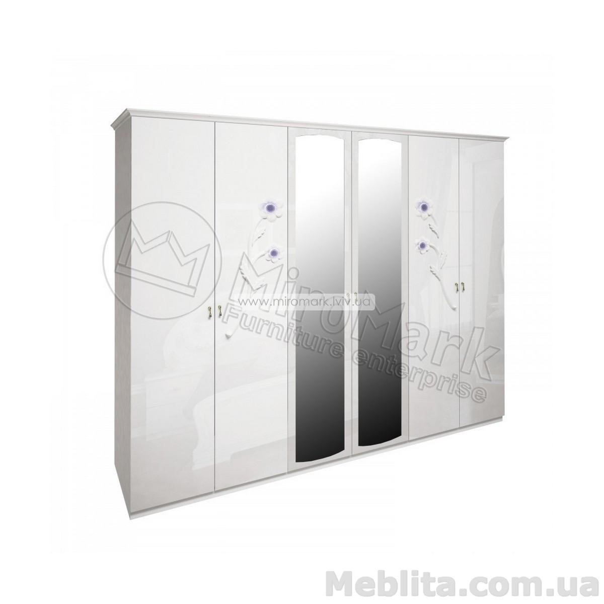 Лулу шкаф 6дв белый глянец