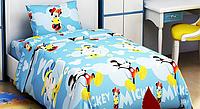 """Полуторный постельный комплект белья """" Микки Маус """" высокого качества с героями мультфильмов"""