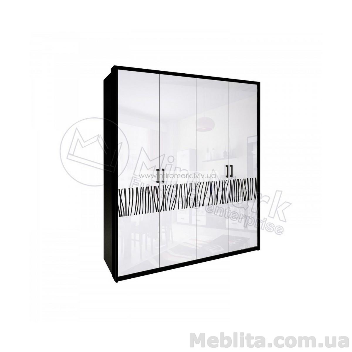 Терра шкаф 4дв без зеркал глянец белый-черный мат