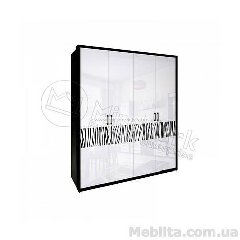 Терра шкаф 4дв без зеркал глянец белый-черный мат, фото 2