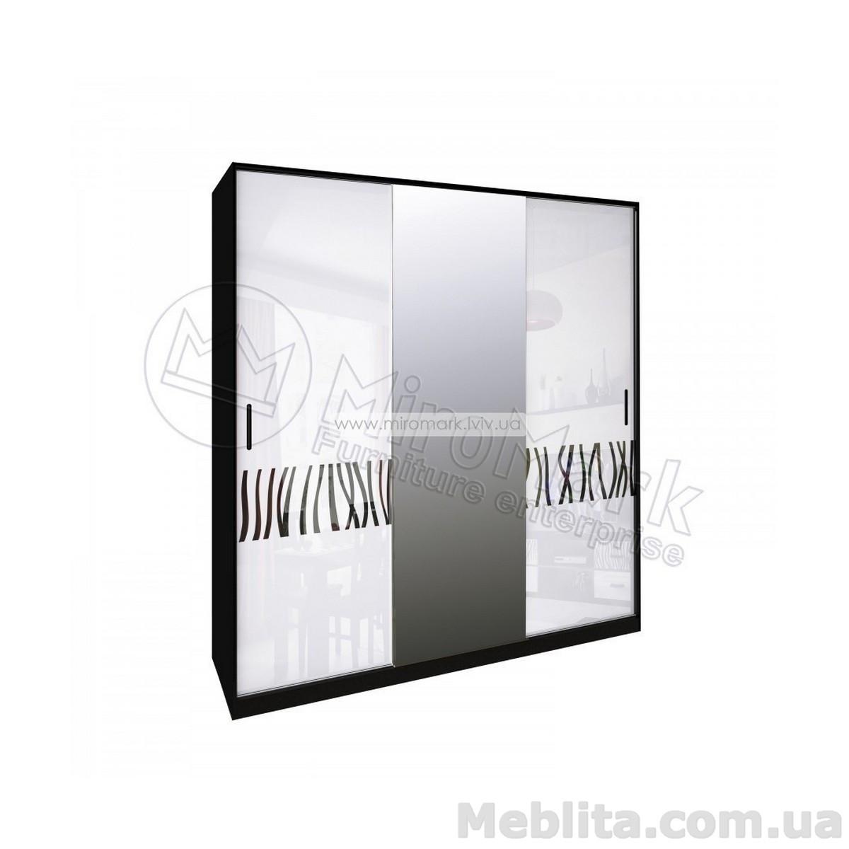Терра шкаф 3дв глянец белый-черный мат