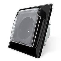 Розетка с крышкой Livolo, влагозащищенная розетка, цвет черный, стекло (VL-C7C1EUWF-12), фото 1