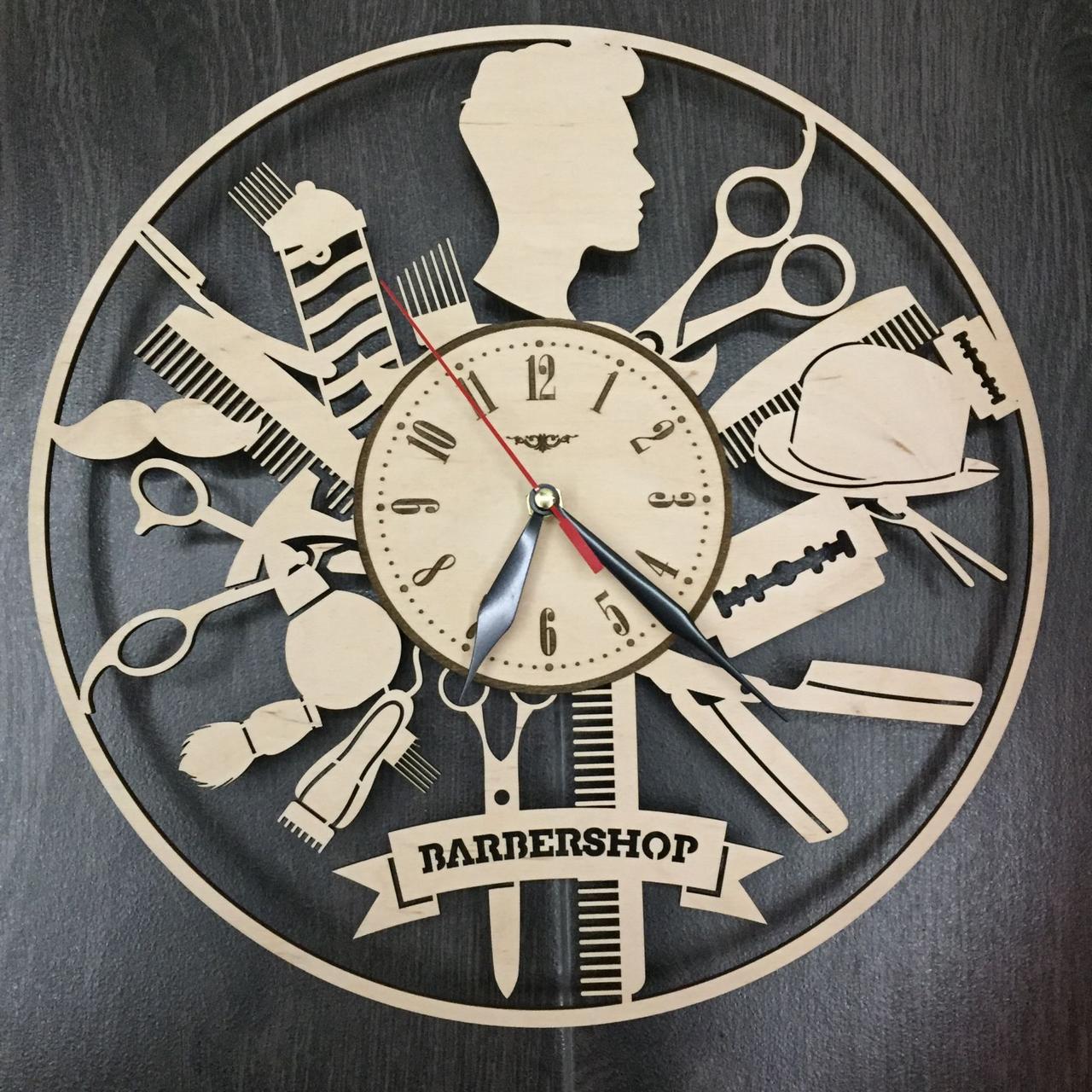 Стильные деревянные настенные часы Barbershop бесшумные