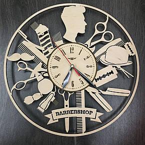 Стильные деревянные настенные часы Barbershop бесшумные, фото 2