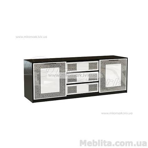 Виола комод 2дв 3ш глянец белый-черный мат, фото 2