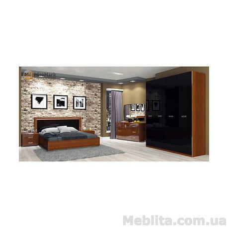 Спальный гарнитур Bella Глянец черный-вишня бюзум, фото 2