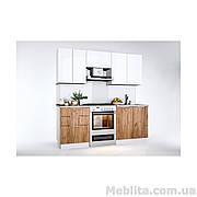Кухня Прямая Florenc Глянец белый/Дуб крафт