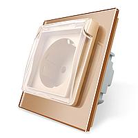 Розетка с крышкой Livolo, влагозащищенная розетка, цвет золотой, стекло (VL-C7C1EUWF-13), фото 1