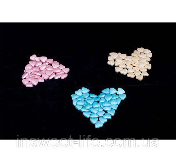 Сатиновые сахарные сердечки 9 мм
