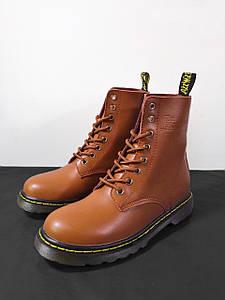 Женские высокие кожаные осенние ботинки Dr. Martens коричневые