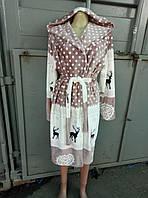 Халаты с капюшоном махра длиной до колена размеры M L XL XXL до 54 размера
