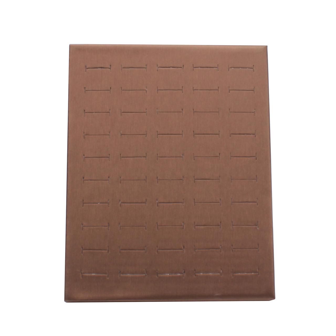 """Стойка планшет """"Под кольца коричневая эко-кожа 50 прорезей 24 х 20 х 10 см"""""""