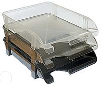 Лоток для паперу горизонтальний Economix, чорний, 340х250х60 мм (E31803-01)