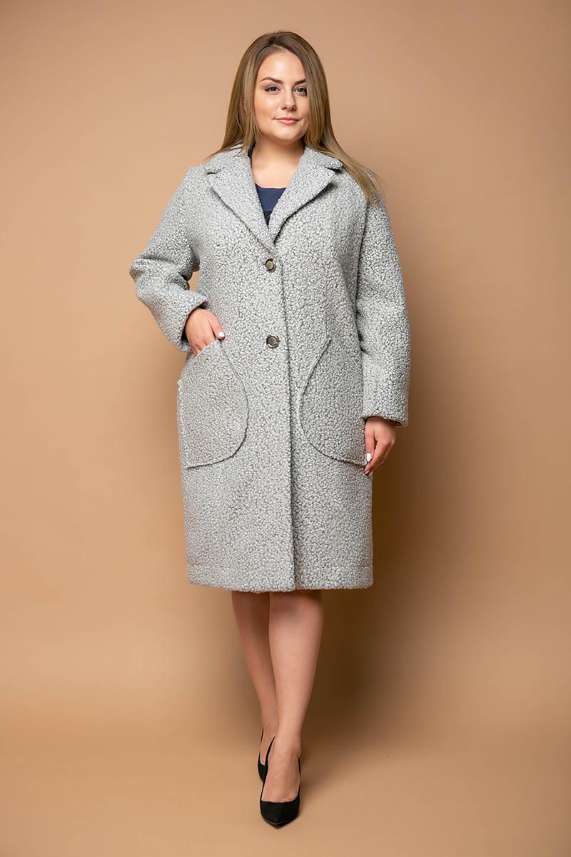 d9c9f5e3833 Классическое женское пальто для полных женщин Эстель серое 58 - DS Moda - женская  одежда оптом