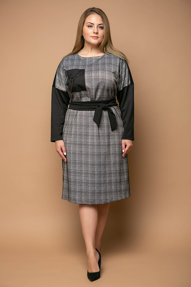 3e2e1df57927c85 Женское комбинированное платье для полных Стоун (54-60) - DS Moda - женская