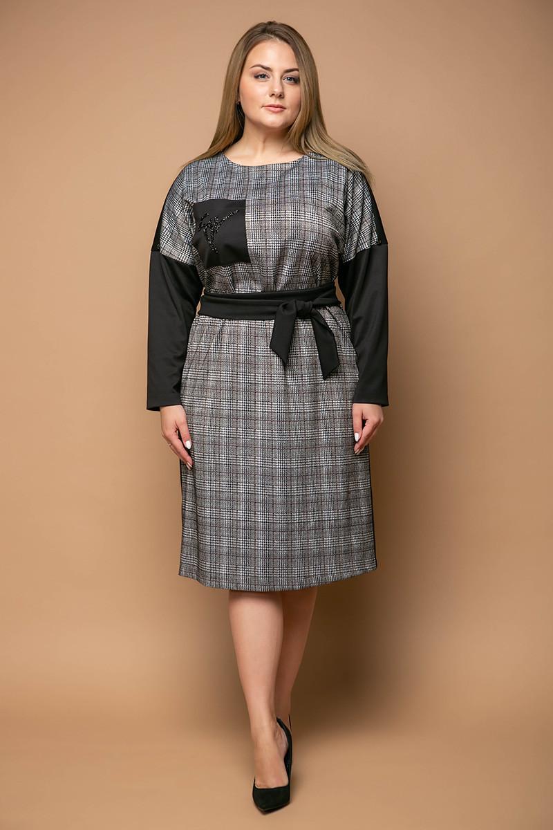 d3b66117e72 Женское комбинированное платье для полных Стоун (54-60) - 670 грн ...