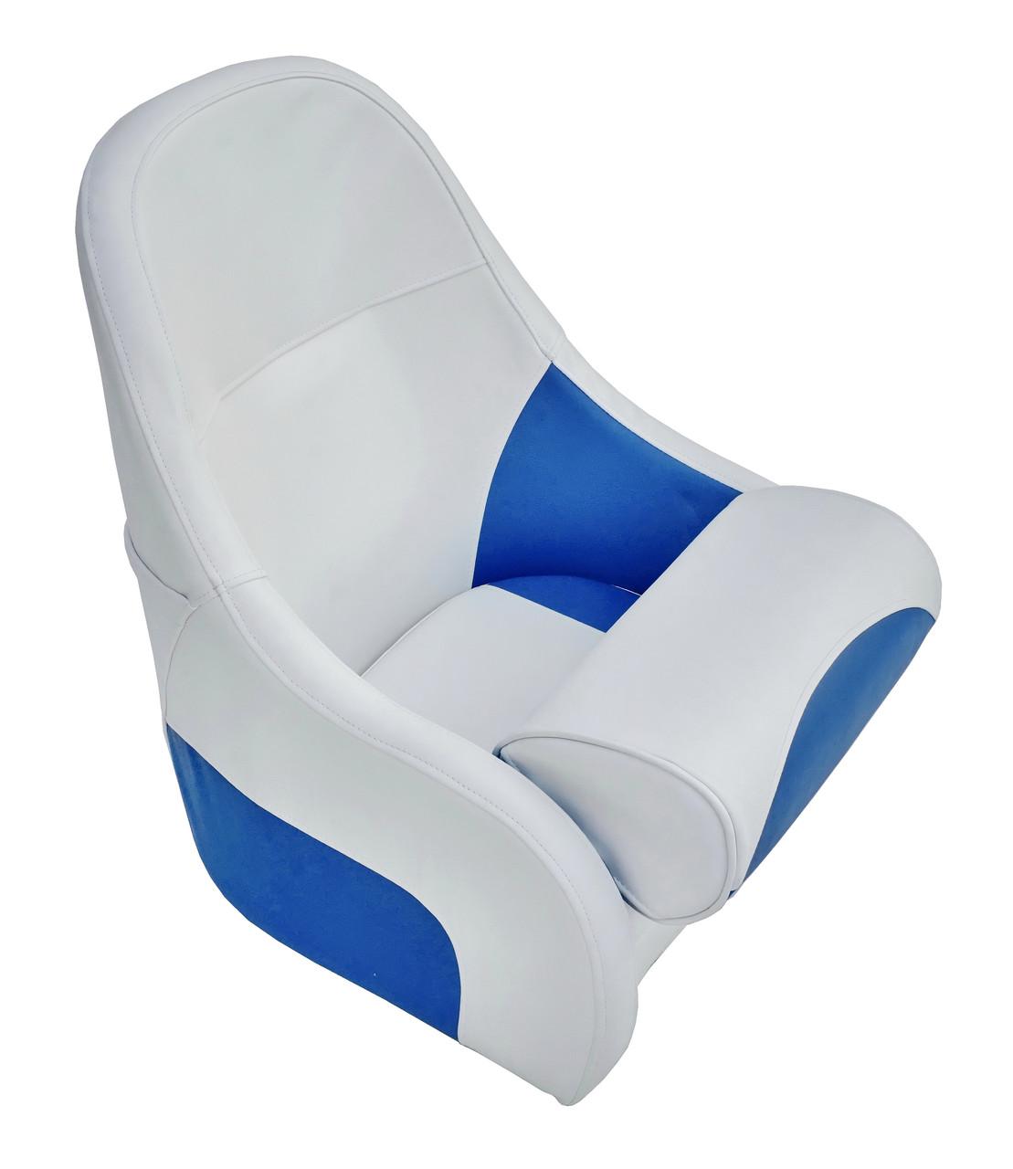 Сиденье для катера, лодки, яхты Flip up с крепежной пластиной серо-синее 13126