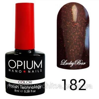Гель лак Opium № 182 темно-вишневый с блестками 8 мл