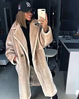 Светлое женское меховое пальто зимнее, фото 1