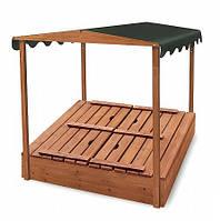 Детская деревянная песочница с крышей и скамейками SportBaby