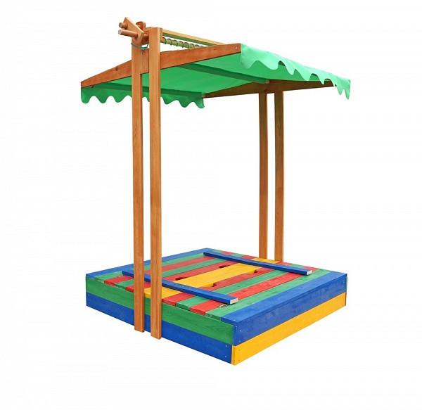 Песочница деревянная с крышей цветная SportBaby