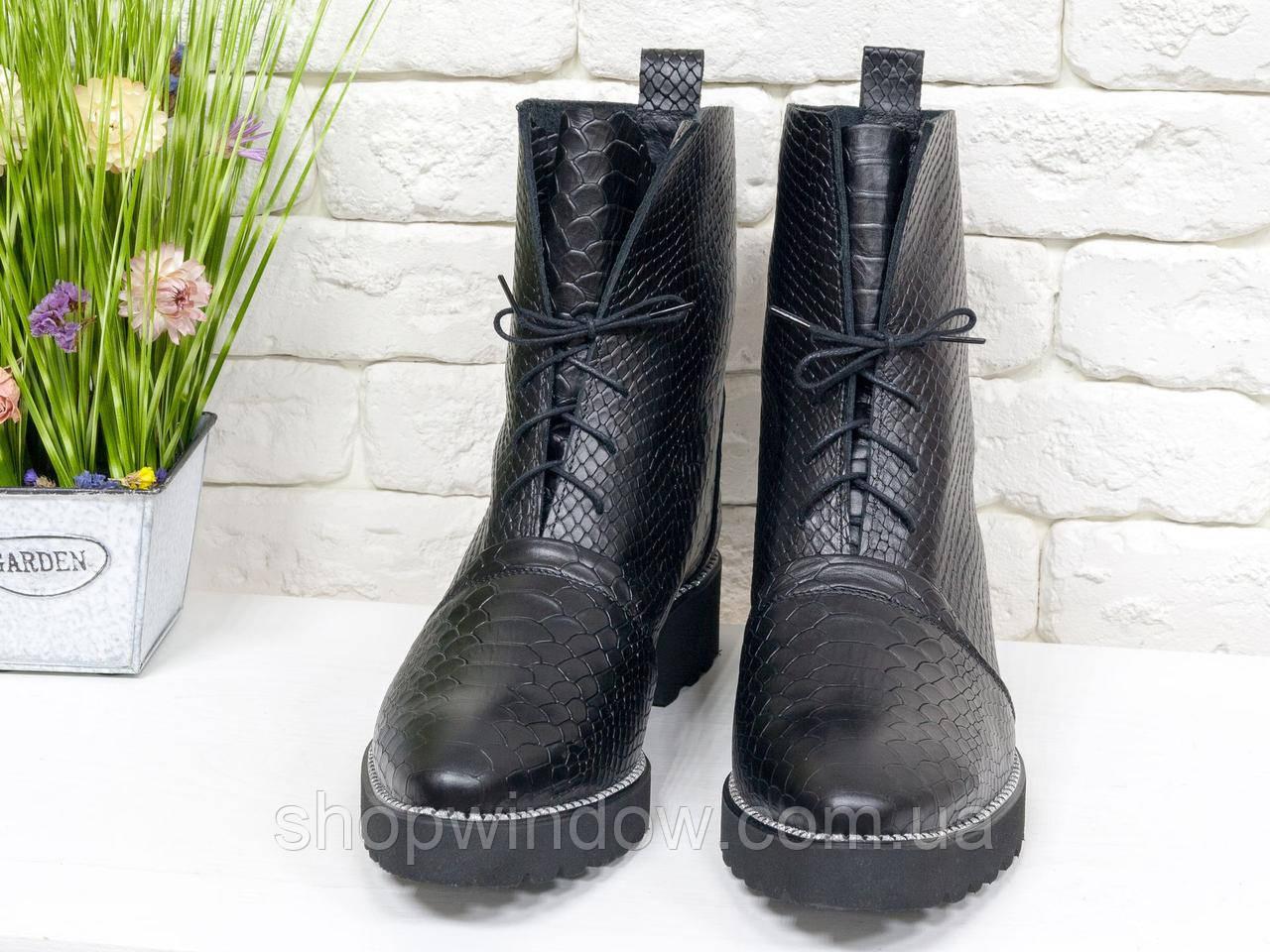 057eb5b23 Женские Ботинки на шнуровке черного цвета из натуральной кожи. Ботинки  женские зима ...