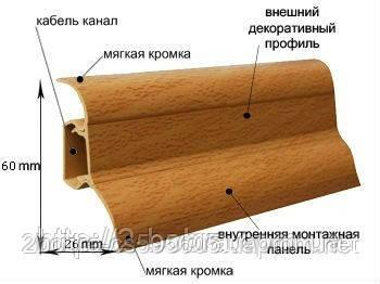 Плинтус Напольный Пластиковый Plint АМ6 60 мм. Глянцевый, фото 2