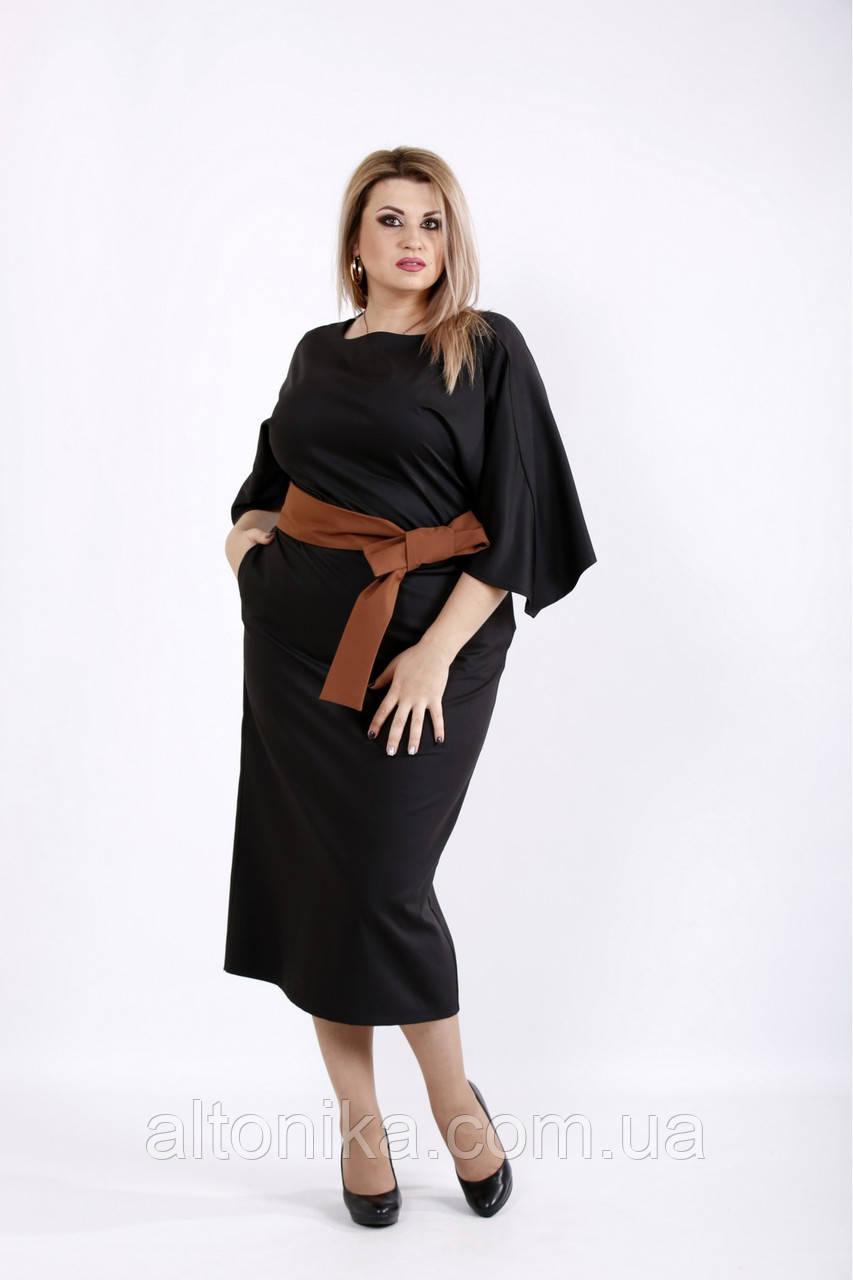 Женское платье ниже колена с поясом   42-74