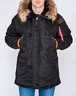 Мужская зимняя Парка Olymp — Аляска N-3B Old School, Slim Fit, Color: Black. 100% НЕЙЛОН, фото 1