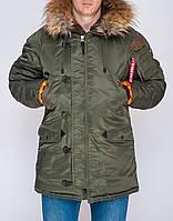 Мужская зимняя Парка Olymp — Аляска N-3B Old School, Slim Fit, Color: Khaki. 100% НЕЙЛОН, фото 1
