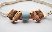 Деревянная бабочка галстук ручной работы из винной пробки №1
