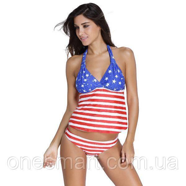 Купальник з майкою в кольорах американського прапора