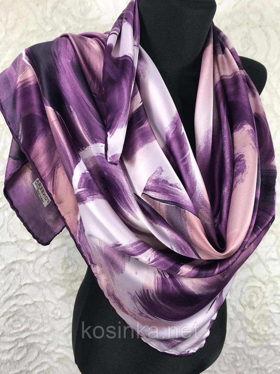 Шелковый фиолетовый платок с отделкой ручной работы 90х90см (цв.5)