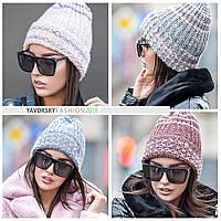 Женская стильная шапка с люрексом