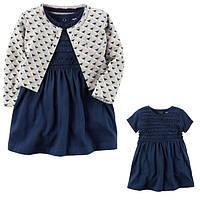 Комплект плаття-боді з кардіганом для дівчинки Carters синє