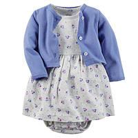 Комплект плаття-боді з кардіганом для дівчинки Carters фіолет