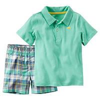 Набор футболка-поло и шорты для мальчика Carters зеленый
