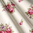 Красивая ткань для штор с розами малиновый, фото 2