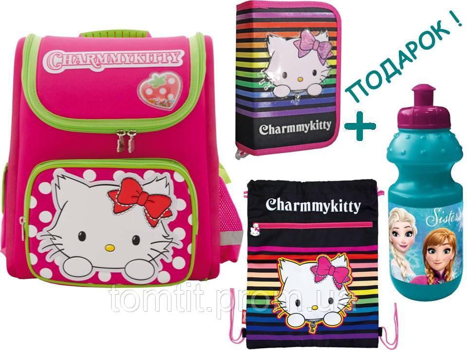"""Комплект. Рюкзак школьный каркасный """"Чарммикитти"""" + пенал + сумка, ТМ """"1 вересня"""""""
