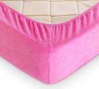 Махровая простынь на резинке с наволочками (Турция, Ярко-розовый)
