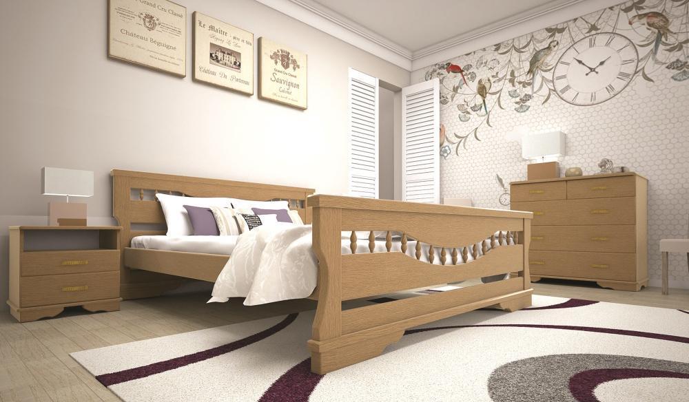 Кровать односпальная с натурального дерева в спальню/детскую ТИС АТЛАНТ 10 90*190 сосна